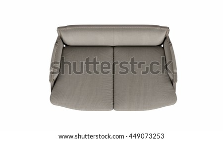 Classic beige fabric sofa isolated on white background,  top view - stock photo