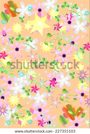 Classic seamless vintage flower pattern on peach background - stock photo