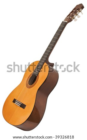 classical acoustic guitar isolated on white with clipping patch - stock photo