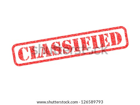 'CLASSIFIED' Red Stamp over a white background. - stock photo