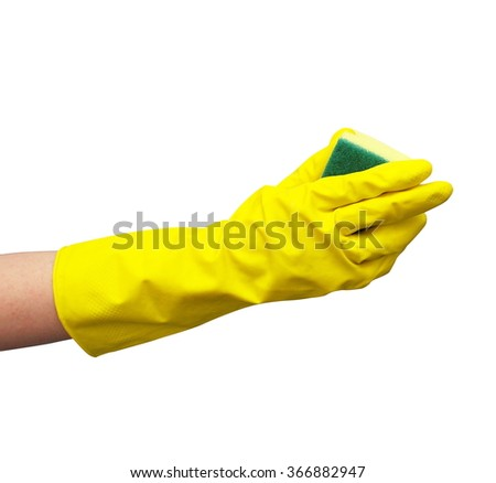 cleaning hand with gloves closeup - stock photo