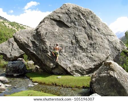 Cliffhanger. - stock photo