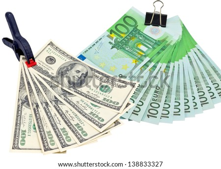 clip with dollars and euro. On a white background. - stock photo