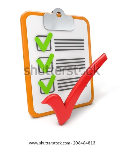 clipboard checklist success  isolated white background - stock photo