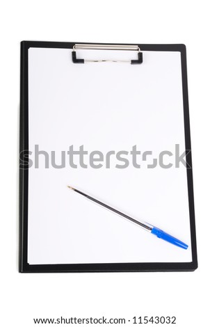 clipboard with pen  isolated on  white background - stock photo