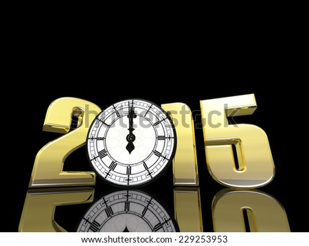 2015 Clock only a minute away from midnight.  Happy New Year.  - stock photo