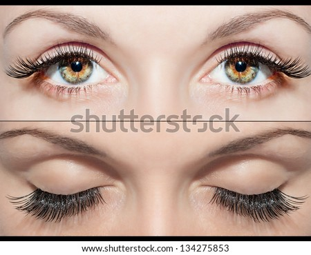 Close Beautiful eyes with false eyelashes - stock photo