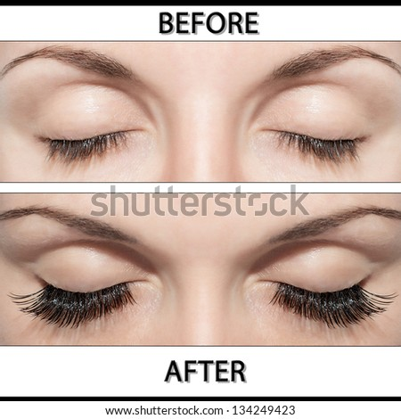 Close Beautiful eyes with natural eyelashes to and false eyelashes after - stock photo