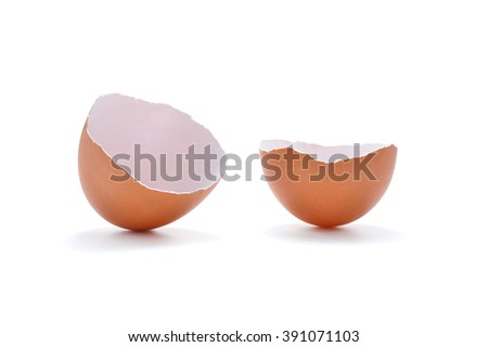 Close up of egg shell isolated on  white background - stock photo