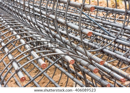 Close up Steel wire rod / Rebar bending shape / Steel rebar for stake - stock photo