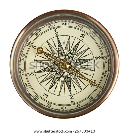 Close up view of the compass on the white background.  - stock photo