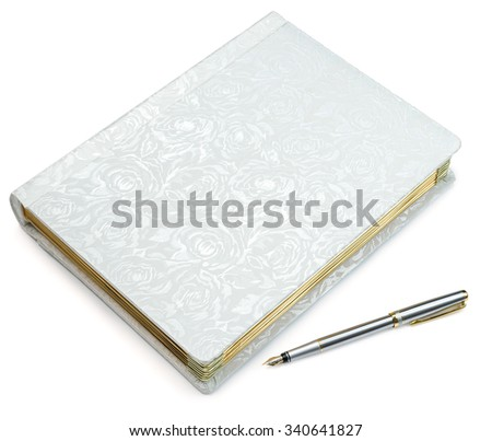 Closed white book and pen on isolated background - stock photo