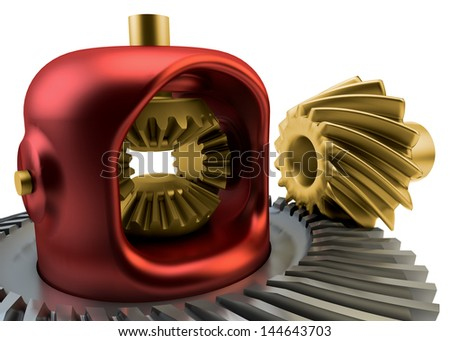 Closeup Differential gear isolated on white background - stock photo
