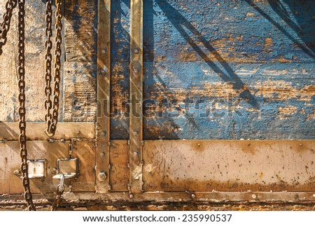 Closeup of blue old wood board of old ship. - stock photo