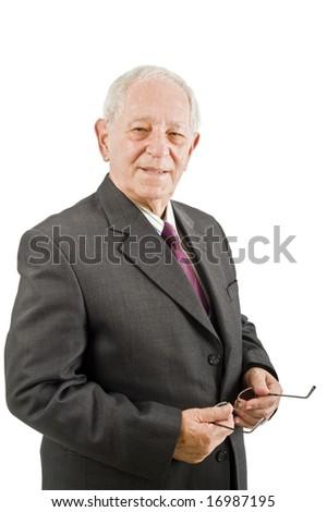 closeup  portrait off a senior businessman isolated on white - stock photo