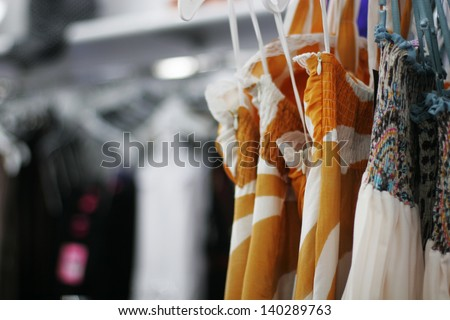clothes in shop   - stock photo