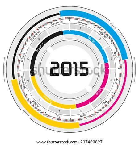 2015 CMYK circular calendar - futuristic concept design - stock photo