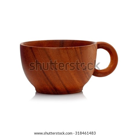 Coffee cup made of wood isolated on white - stock photo
