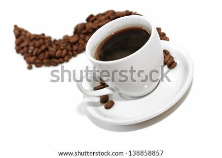 Coffee cup with coffee beans isolated on white - stock photo