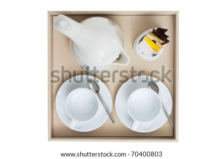 coffee set top view isolated white - stock photo