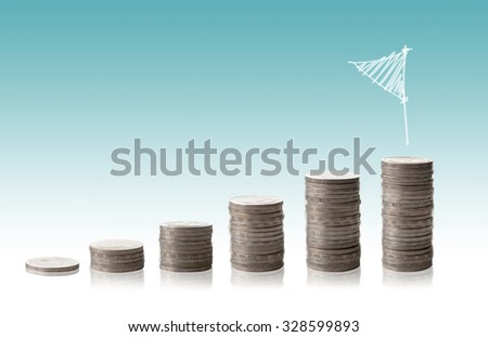 Coins graph grow up - stock photo