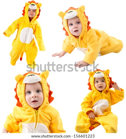 Collage of children,dressed in lion carnival suit, isolated on white background. Baby zodiac - sign Leo. The concept of childhood and holiday - stock photo