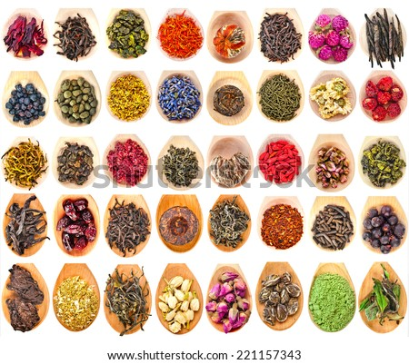 Collection Set of Tea Leaves and Fruit Berry Flower Additives in spoon scoop, isolated on white background - stock photo