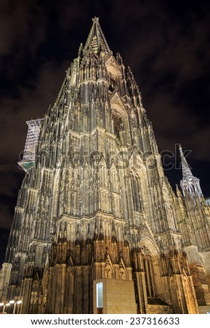 Cologne cathedral with illumination at night, Germany  - stock photo