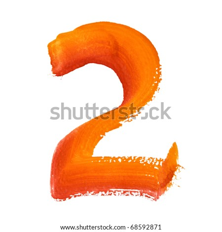 2 - Color digits isolated over the white background - stock photo