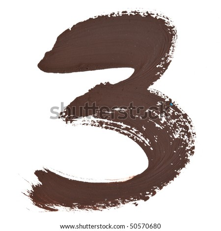 3 - Color numbers isolated over the white background - stock photo