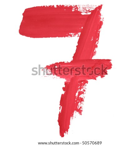 7 - Color numbers isolated over the white background - stock photo