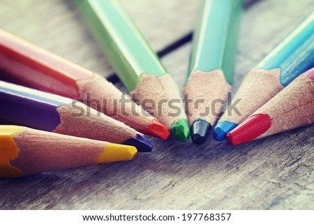 Color pencils old retro vintage style - stock photo
