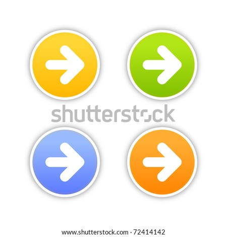 4 colored arrow sign web 2.0 button. Round stickers with shadow on white. Bitmap copy my vector ID: 60017335 - stock photo