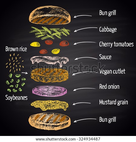 Colored chalk drawn illustration with ingredients of vegan burger (soybeans, brown rice) with text.. No meat! Infographic. - stock photo