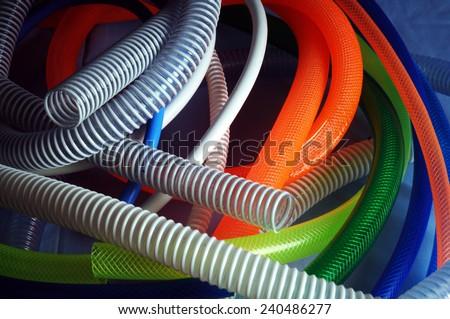 colored garden hose - stock photo