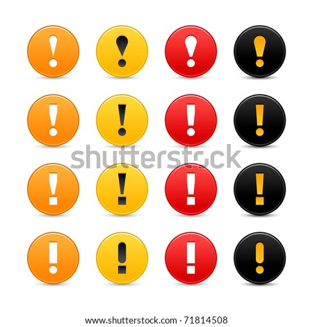 16 colored round warning sign web 2.0 button with exclamation mark on white background. Bitmap copy my vector ID: 52314517 - stock photo