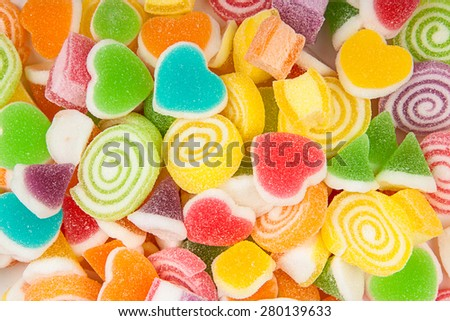 Colorful  Assorted Sweet Candy on White Background - stock photo