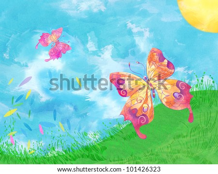 Colorful butterflies. Hand drawn - stock photo