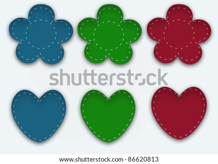 Colorful cloth stickers - stock photo
