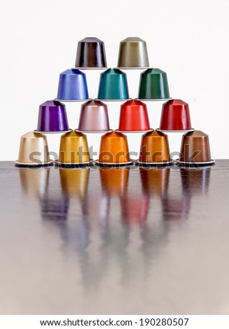 Colorful coffee capsules - stock photo