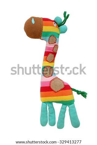 Colorful  Giraffe Toy isolated on white background - stock photo