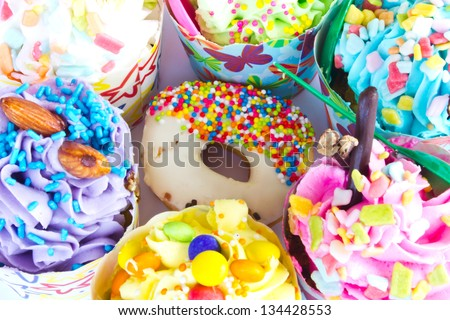 colorful of Cupcake selection - stock photo