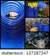 Colorful summer gardening collage includes abstract image of garden hose and watering  can still lifes. - stock photo