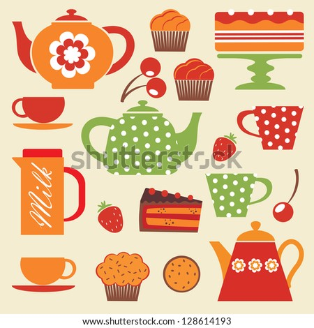 Colorful tea party elements - stock photo