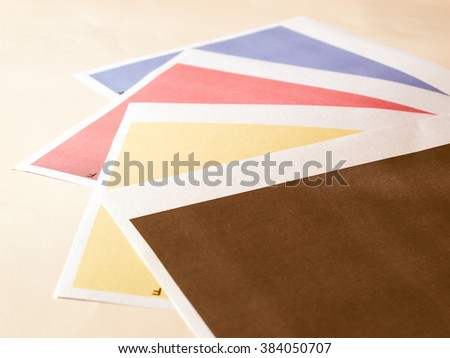 Colour printer print test of black cyan magenta yellow tones vintage - stock photo
