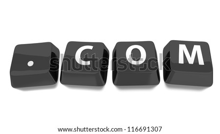 .COM written in white on black computer keys. 3d illustration. Isolated background. - stock photo