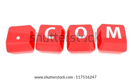 .COM written in white on red computer keys. 3d illustration. Isolated background. - stock photo