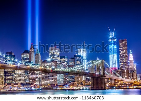 911 Commemoration Lights over Manhattan - stock photo