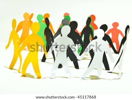 community of people holding on hands - stock photo