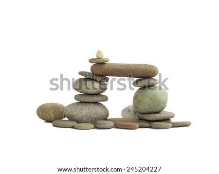 composition of the stone pebbles on a white background, isolated - stock photo